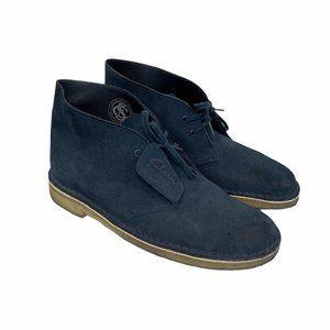 Clarks Desert Navy Blue Suede Gum Sole Boots 9.5
